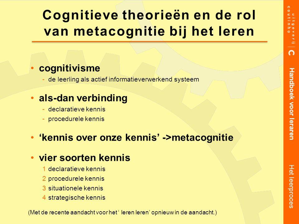 cognitivisme -de leerling als actief informatieverwerkend systeem als-dan verbinding -declaratieve kennis -procedurele kennis 'kennis over onze kennis