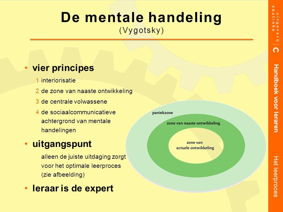 vier principes 1interiorisatie 2de zone van naaste ontwikkeling 3de centrale volwassene 4de sociaalcommunicatieve achtergrond van mentale handelingen