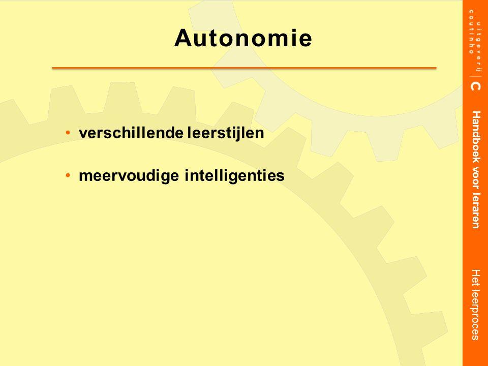 verschillende leerstijlen meervoudige intelligenties Handboek voor leraren Het leerproces Autonomie