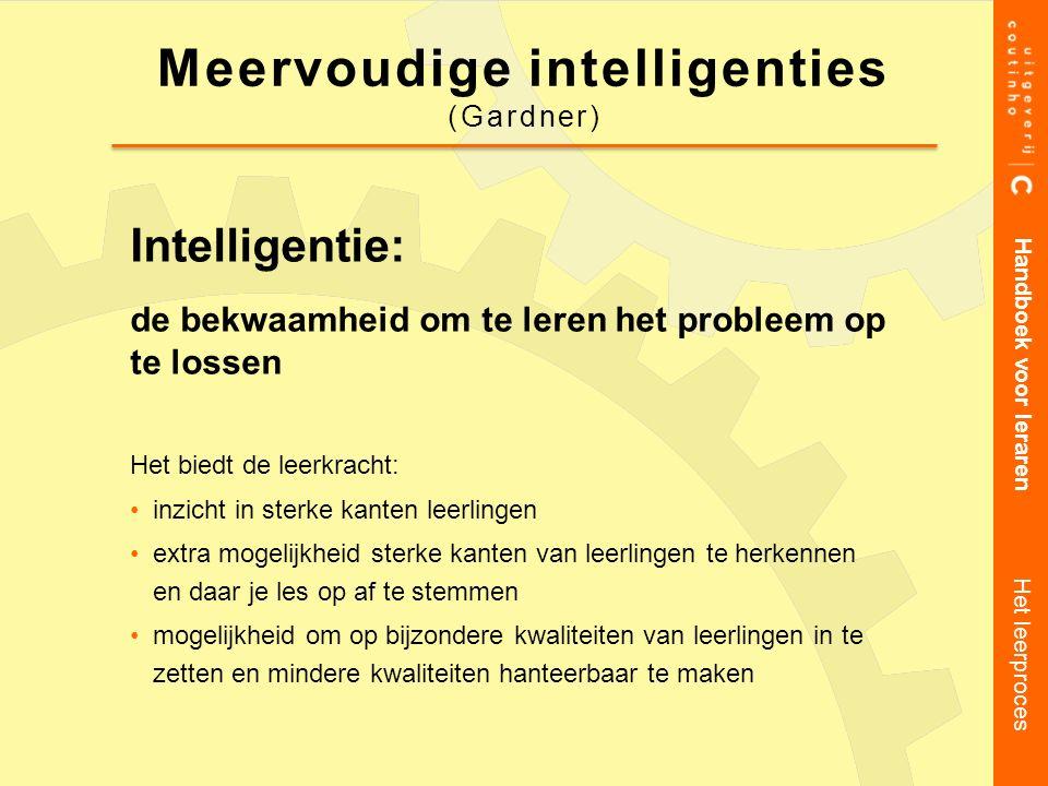 Intelligentie: de bekwaamheid om te leren het probleem op te lossen Het biedt de leerkracht: inzicht in sterke kanten leerlingen extra mogelijkheid st