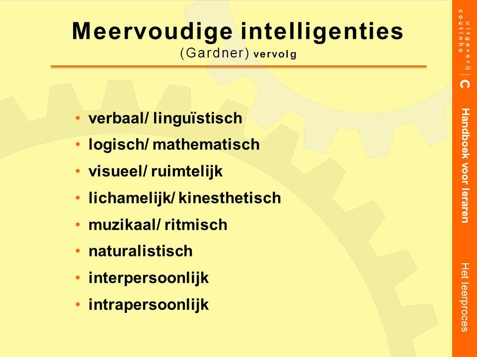 verbaal/ linguïstisch logisch/ mathematisch visueel/ ruimtelijk lichamelijk/ kinesthetisch muzikaal/ ritmisch naturalistisch interpersoonlijk intraper
