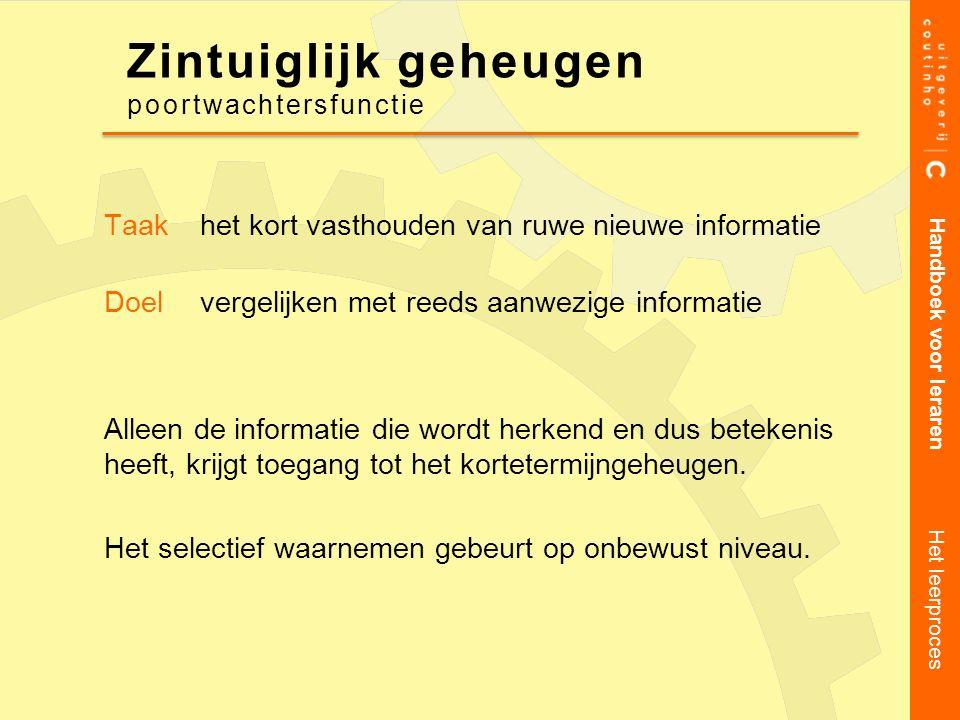 Taakhet kort vasthouden van ruwe nieuwe informatie Doelvergelijken met reeds aanwezige informatie Alleen de informatie die wordt herkend en dus beteke