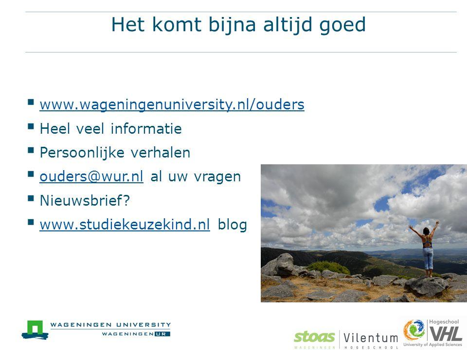 Het komt bijna altijd goed  www.wageningenuniversity.nl/ouders www.wageningenuniversity.nl/ouders  Heel veel informatie  Persoonlijke verhalen  ouders@wur.nl al uw vragen ouders@wur.nl  Nieuwsbrief.
