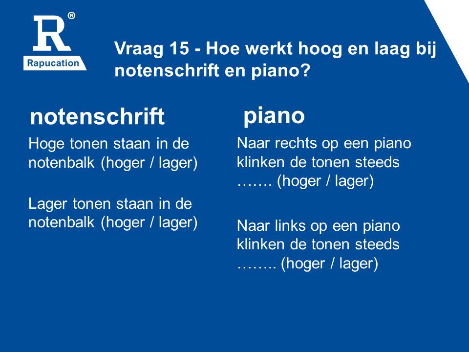 Vraag 15 - Hoe werkt hoog en laag bij notenschrift en piano.