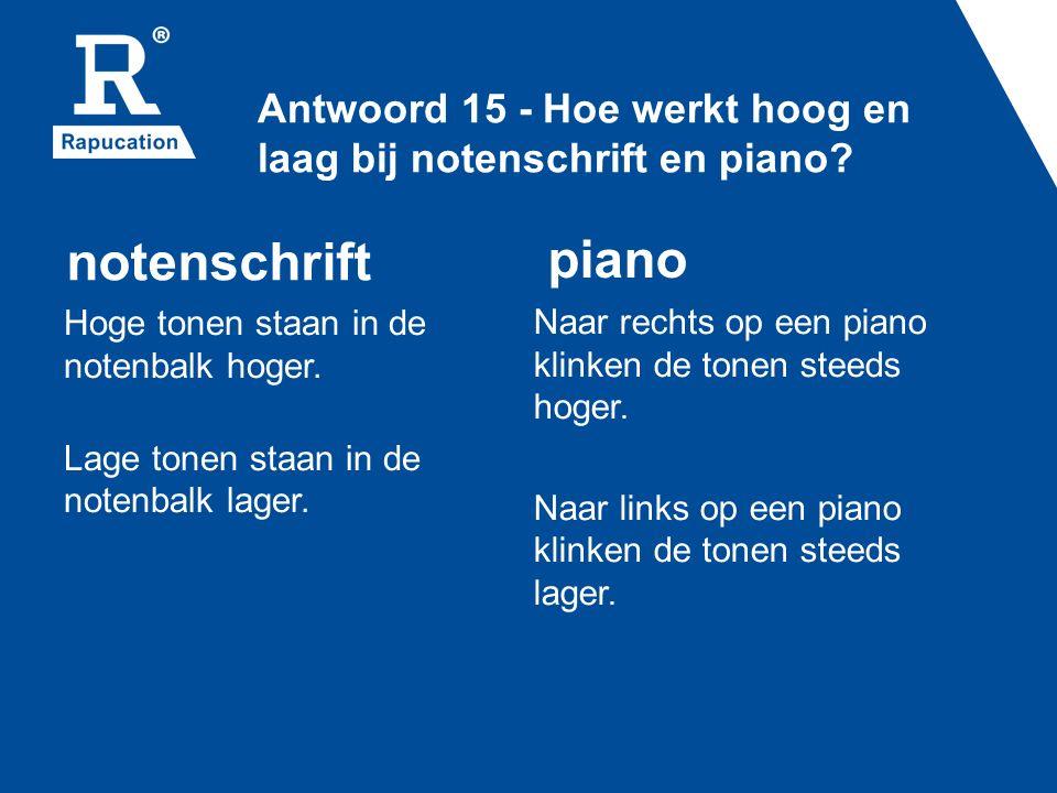 Antwoord 15 - Hoe werkt hoog en laag bij notenschrift en piano.