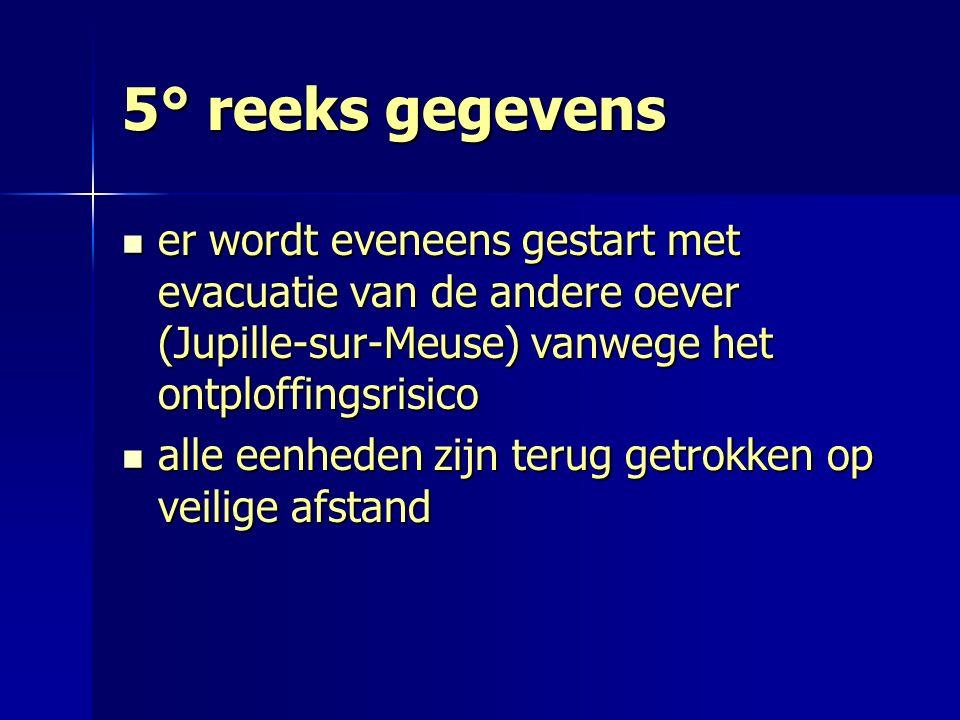 5° reeks gegevens er wordt eveneens gestart met evacuatie van de andere oever (Jupille-sur-Meuse) vanwege het ontploffingsrisico er wordt eveneens ges