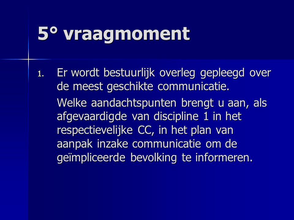 5° vraagmoment 1. Er wordt bestuurlijk overleg gepleegd over de meest geschikte communicatie. Welke aandachtspunten brengt u aan, als afgevaardigde va