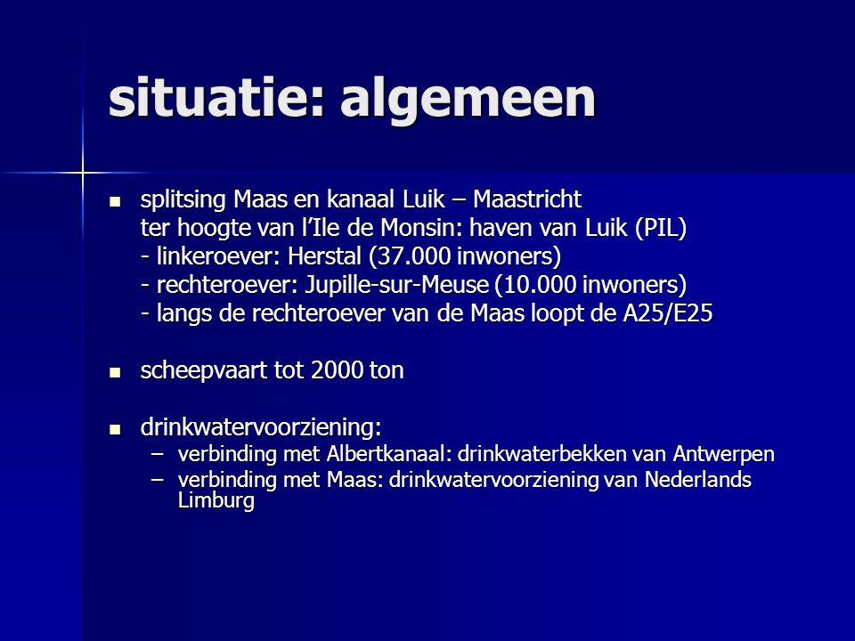 situatie: algemeen splitsing Maas en kanaal Luik – Maastricht splitsing Maas en kanaal Luik – Maastricht ter hoogte van l'Ile de Monsin: haven van Lui