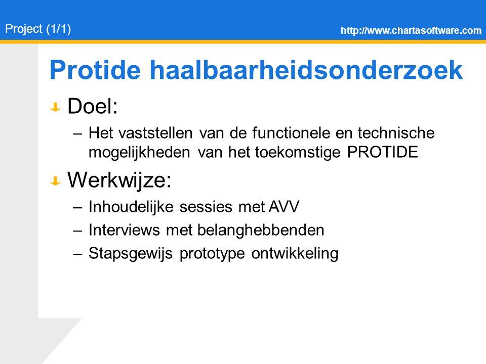 http://www.chartasoftware.com Protide haalbaarheidsonderzoek Doel: –Het vaststellen van de functionele en technische mogelijkheden van het toekomstige PROTIDE Werkwijze: –Inhoudelijke sessies met AVV –Interviews met belanghebbenden –Stapsgewijs prototype ontwikkeling Project (1/1)