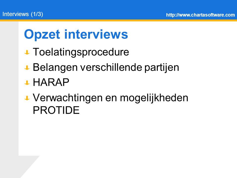 http://www.chartasoftware.com Opzet interviews Toelatingsprocedure Belangen verschillende partijen HARAP Verwachtingen en mogelijkheden PROTIDE Interviews (1/3)