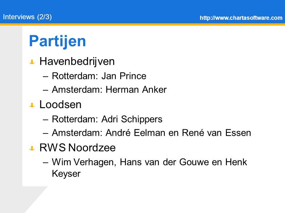http://www.chartasoftware.com Partijen Havenbedrijven –Rotterdam: Jan Prince –Amsterdam: Herman Anker Loodsen –Rotterdam: Adri Schippers –Amsterdam: André Eelman en René van Essen RWS Noordzee –Wim Verhagen, Hans van der Gouwe en Henk Keyser Interviews (2/3)