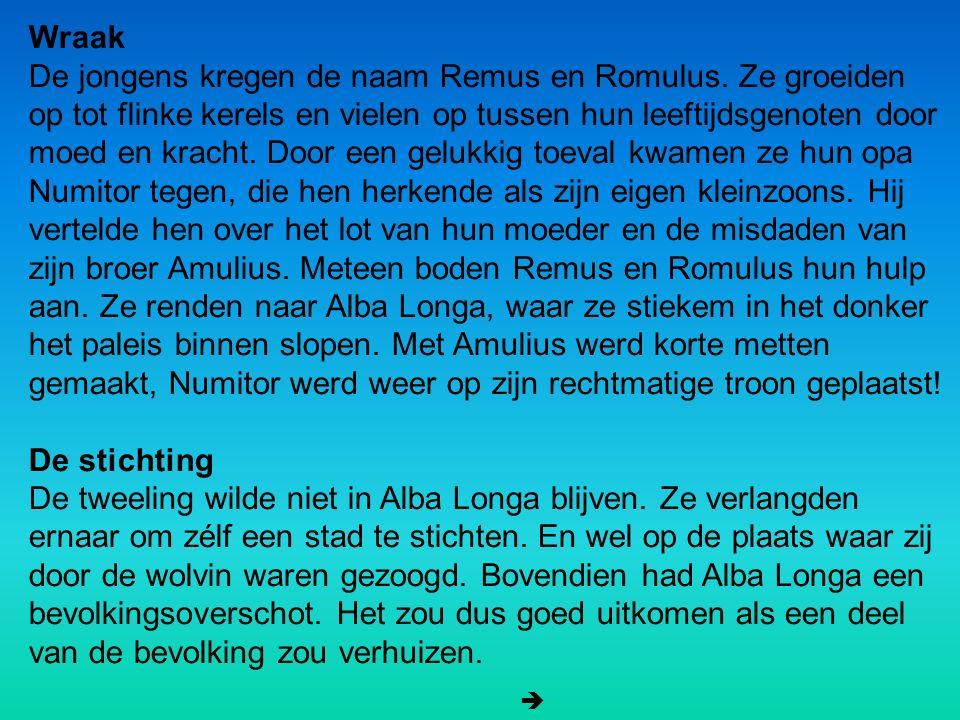 Wraak De jongens kregen de naam Remus en Romulus. Ze groeiden op tot flinke kerels en vielen op tussen hun leeftijdsgenoten door moed en kracht. Door