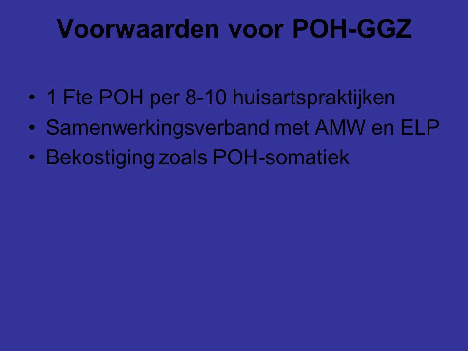 Voorwaarden voor POH-GGZ 1 Fte POH per 8-10 huisartspraktijken Samenwerkingsverband met AMW en ELP Bekostiging zoals POH-somatiek
