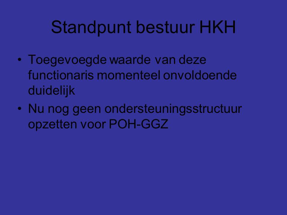 Standpunt bestuur HKH Toegevoegde waarde van deze functionaris momenteel onvoldoende duidelijk Nu nog geen ondersteuningsstructuur opzetten voor POH-GGZ