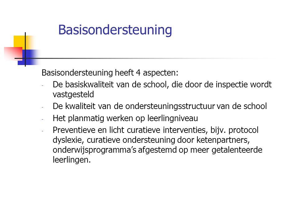 Basisondersteuning Basisondersteuning heeft 4 aspecten: - De basiskwaliteit van de school, die door de inspectie wordt vastgesteld - De kwaliteit van de ondersteuningsstructuur van de school - Het planmatig werken op leerlingniveau - Preventieve en licht curatieve interventies, bijv.
