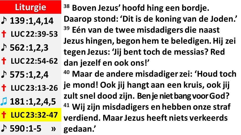 Liturgie ♪ 139:1,4,14 ✝ LUC22:39-53 ♪ 562:1,2,3 ✝ LUC22:54-62 ♪ 575:1,2,4 ✝ LUC23:13-26 ♫ 181:1,2,4,5 ✝ LUC23:32-47 ♪ 590:1-5 » 38 Boven Jezus' hoofd hing een bordje.