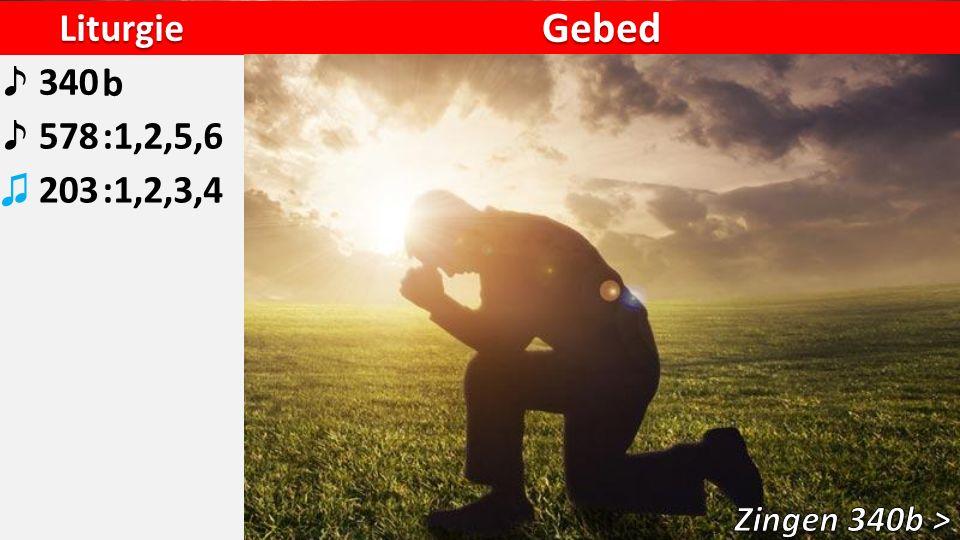 Liturgie ♪ 340b ♪ 578:1,2,5,6 ♫ 203:1,2,3,4 Gebed