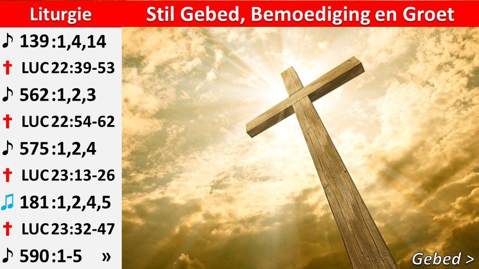 Liturgie ♪ 139:1,4,14 ✝ LUC22:39-53 ♪ 562:1,2,3 ✝ LUC22:54-62 ♪ 575:1,2,4 ✝ LUC23:13-26 ♫ 181:1,2,4,5 ✝ LUC23:32-47 ♪ 590:1-5 » Stil Gebed, Bemoediging en Groet