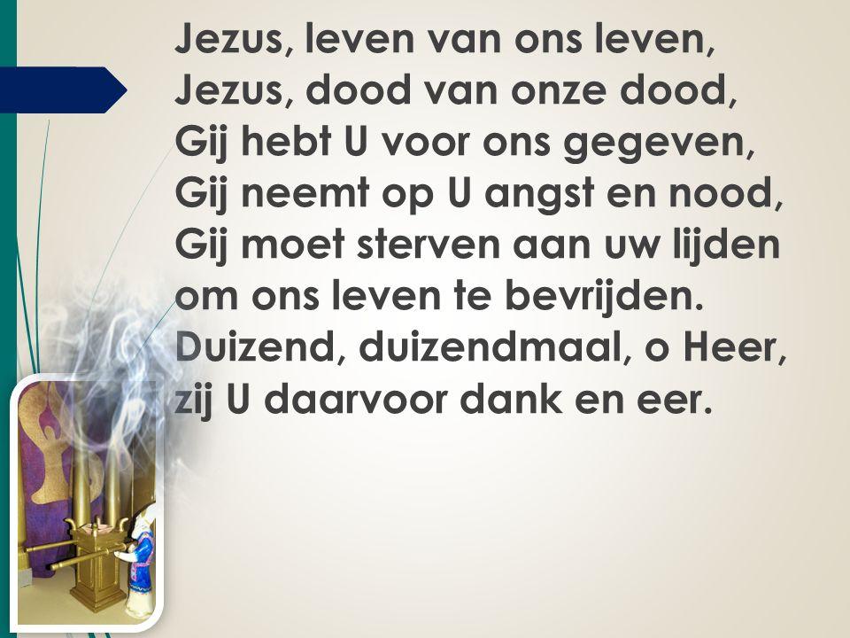 Jezus, leven van ons leven, Jezus, dood van onze dood, Gij hebt U voor ons gegeven, Gij neemt op U angst en nood, Gij moet sterven aan uw lijden om on