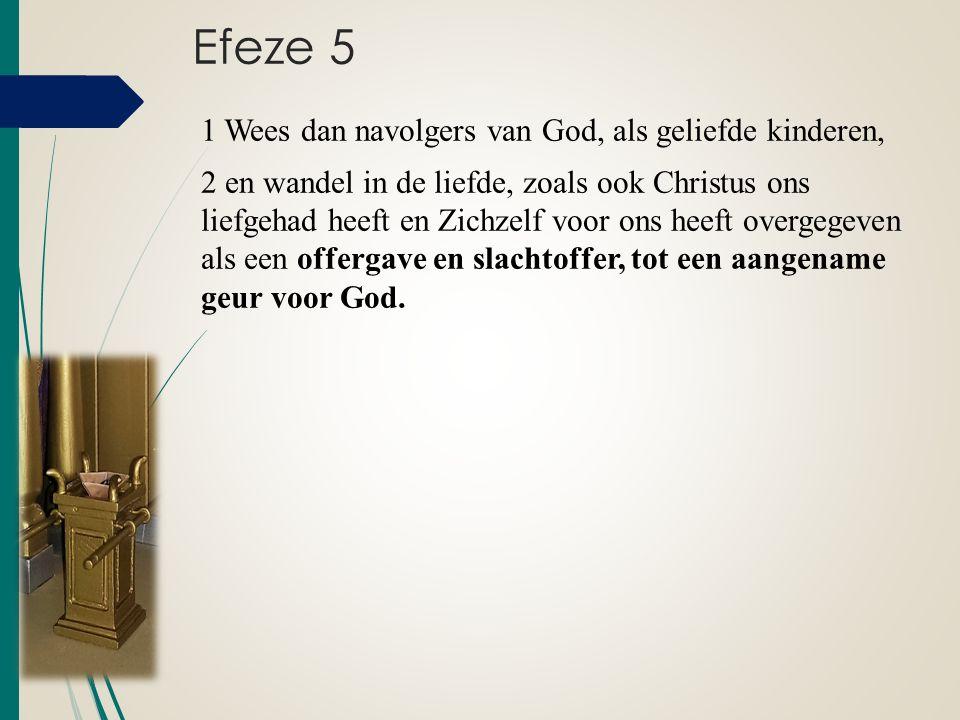 Efeze 5 1 Wees dan navolgers van God, als geliefde kinderen, 2 en wandel in de liefde, zoals ook Christus ons liefgehad heeft en Zichzelf voor ons hee