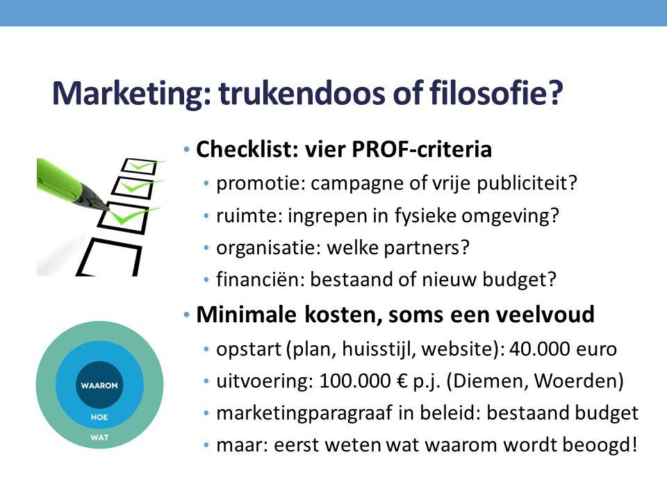 Marketing: trukendoos of filosofie? Checklist: vier PROF-criteria promotie: campagne of vrije publiciteit? ruimte: ingrepen in fysieke omgeving? organ