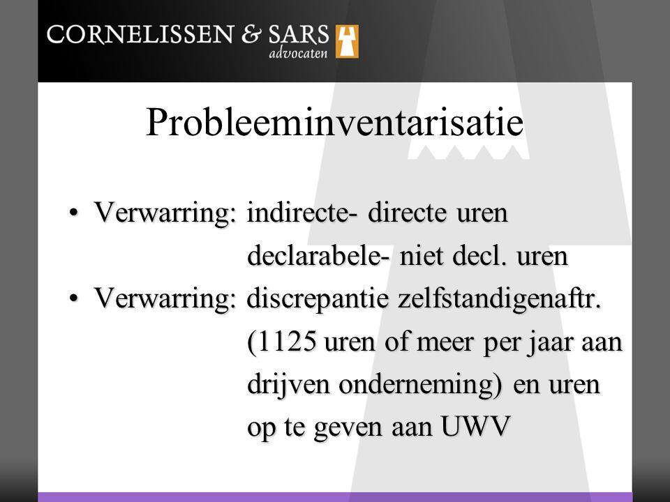 Probleeminventarisatie Verwarring: indirecte- directe urenVerwarring: indirecte- directe uren declarabele- niet decl. uren declarabele- niet decl. ure