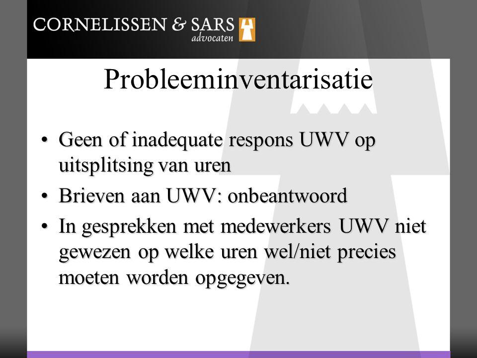 Probleeminventarisatie Geen of inadequate respons UWV op uitsplitsing van urenGeen of inadequate respons UWV op uitsplitsing van uren Brieven aan UWV: