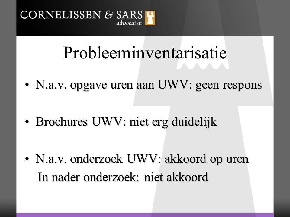 Probleeminventarisatie N.a.v. opgave uren aan UWV: geen responsN.a.v. opgave uren aan UWV: geen respons Brochures UWV: niet erg duidelijkBrochures UWV