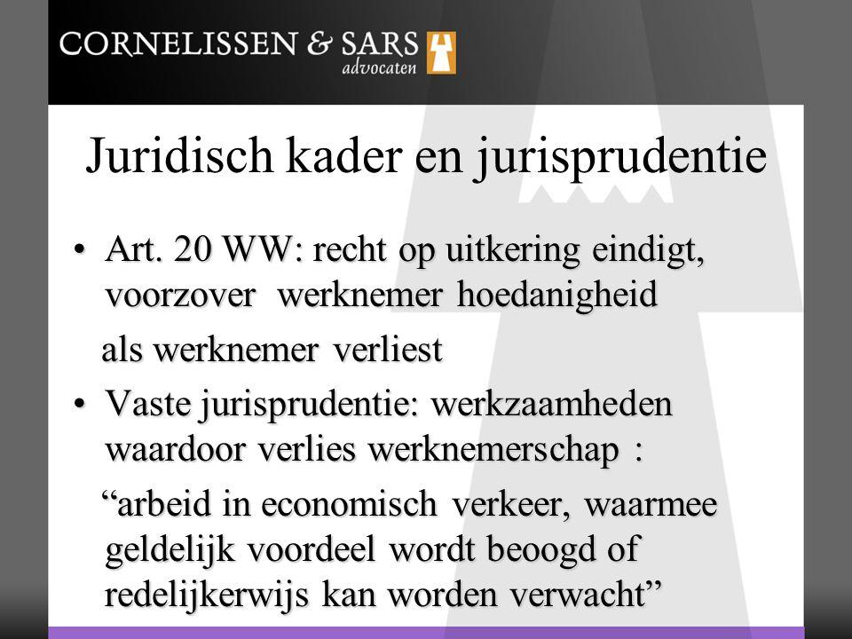 Juridisch kader en jurisprudentie Art. 20 WW: recht op uitkering eindigt, voorzover werknemer hoedanigheidArt. 20 WW: recht op uitkering eindigt, voor