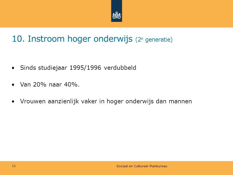 10. Instroom hoger onderwijs (2 e generatie) Sociaal en Cultureel Planbureau 11 Sinds studiejaar 1995/1996 verdubbeld Van 20% naar 40%. Vrouwen aanzie