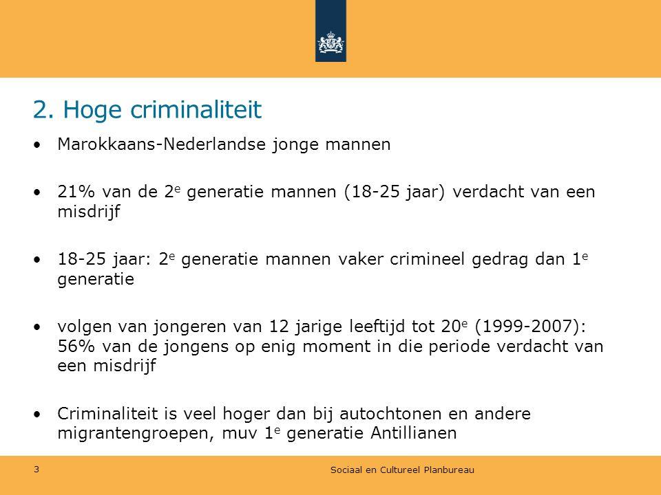 2. Hoge criminaliteit Sociaal en Cultureel Planbureau 3 Marokkaans-Nederlandse jonge mannen 21% van de 2 e generatie mannen (18-25 jaar) verdacht van
