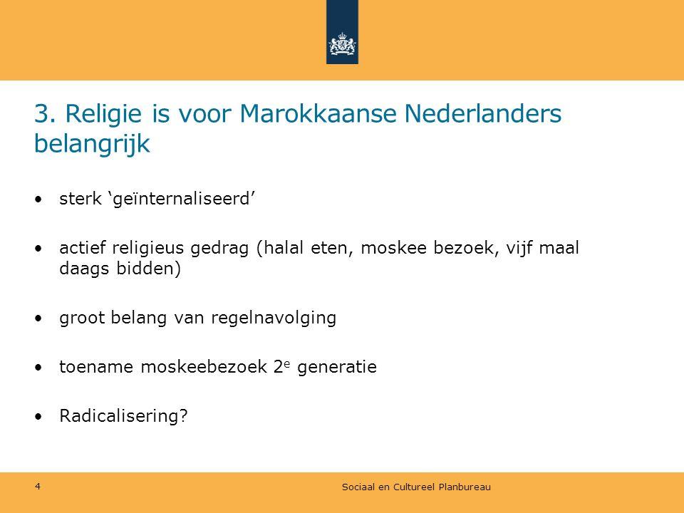 3. Religie is voor Marokkaanse Nederlanders belangrijk sterk 'geïnternaliseerd' actief religieus gedrag (halal eten, moskee bezoek, vijf maal daags bi