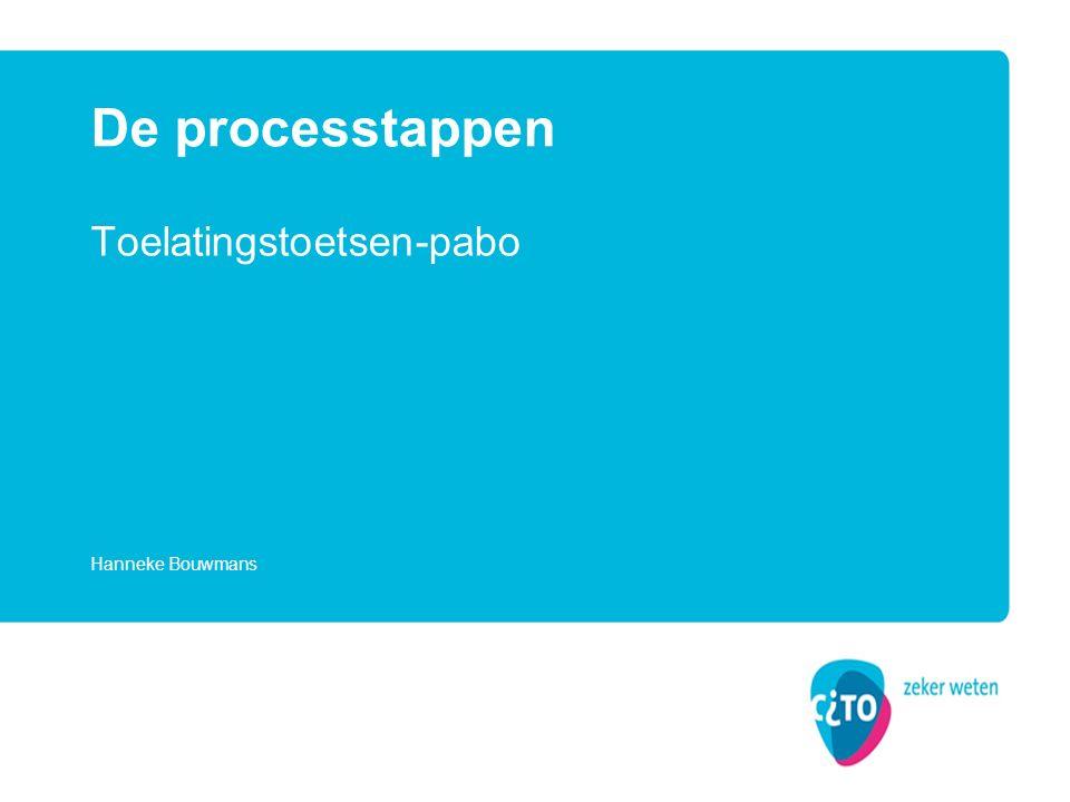 Toelatingstoetsen-pabo De processtappen Hanneke Bouwmans