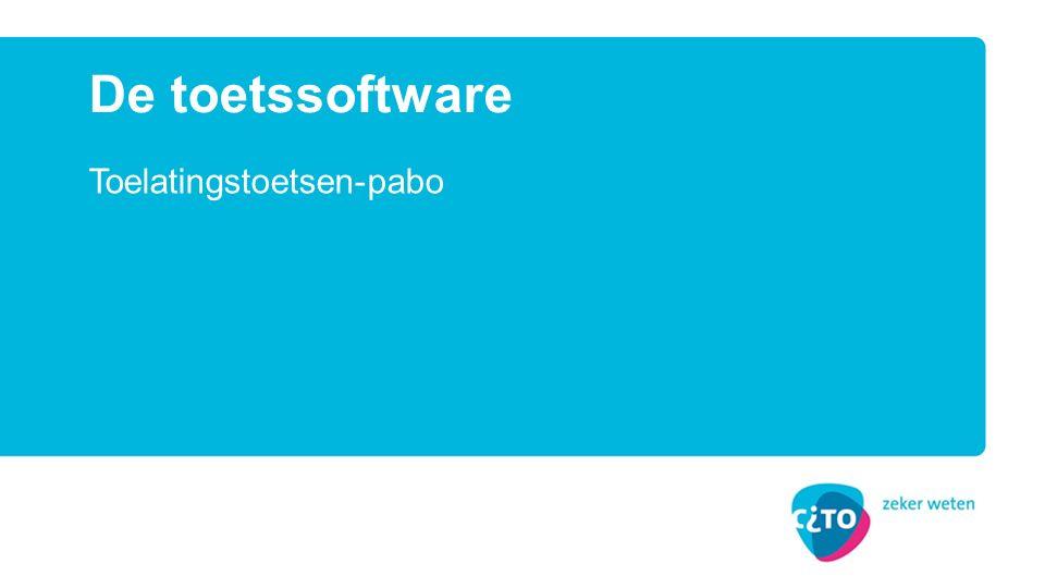 Nieuw systeem: afnames met Questify Player Beveiligde toetsafname Systeemeisen Inrichting PC's Systeemcheck op scholen Bijzonderheden van de digitale toets Kenmerken van de toelatingstoets Ondersteuning van de Pabo's tijdens de afnames Onderwerpen