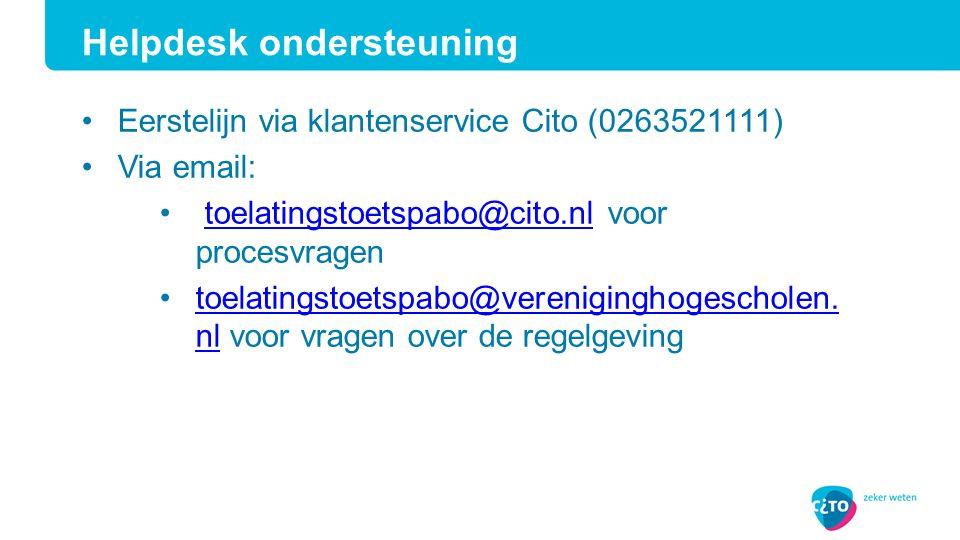 Eerstelijn via klantenservice Cito (0263521111) Via email: toelatingstoetspabo@cito.nl voor procesvragentoelatingstoetspabo@cito.nl toelatingstoetspabo@vereniginghogescholen.