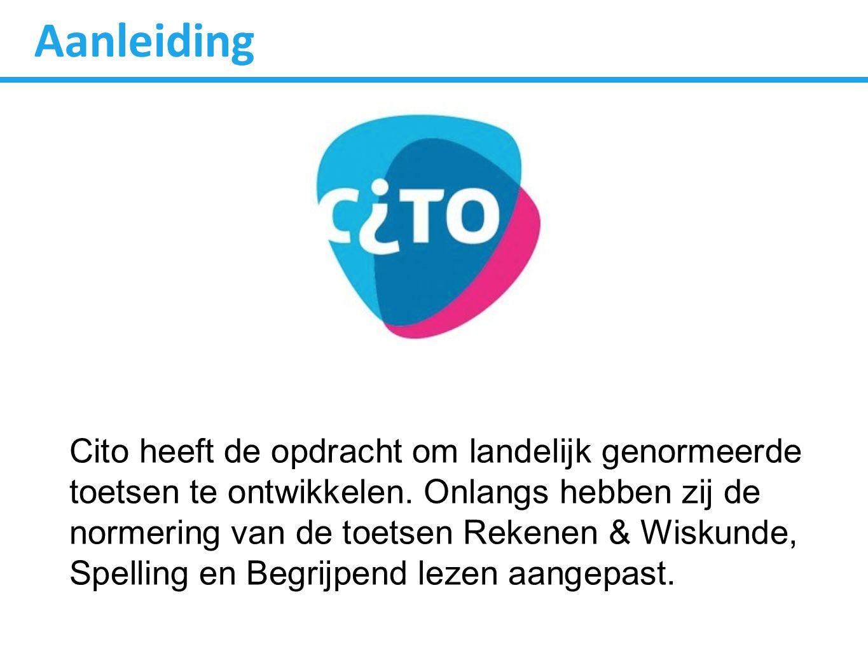 Aanleiding Cito heeft de opdracht om landelijk genormeerde toetsen te ontwikkelen.