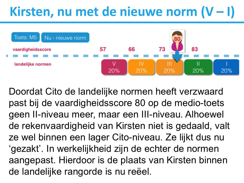 Kirsten, nu met de nieuwe norm (V – I) Doordat Cito de landelijke normen heeft verzwaard past bij de vaardigheidsscore 80 op de medio-toets geen II-niveau meer, maar een III-niveau.