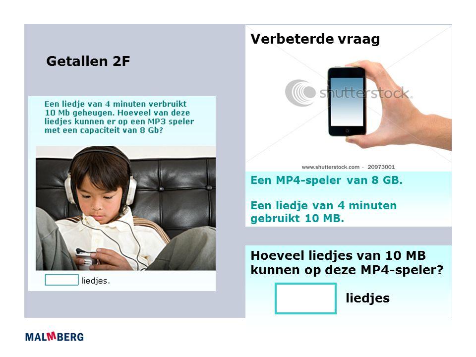 Getallen 2F Een MP4-speler van 8 GB.Een liedje van 4 minuten gebruikt 10 MB.