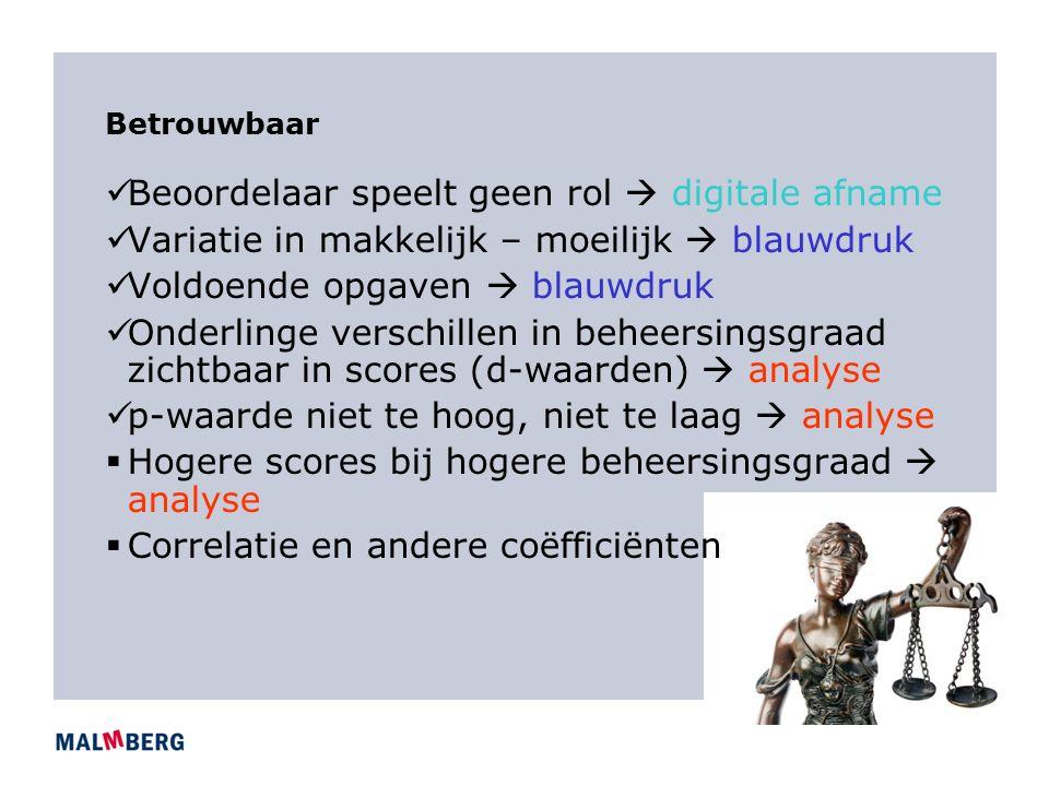 Betrouwbaar Beoordelaar speelt geen rol  digitale afname Variatie in makkelijk – moeilijk  blauwdruk Voldoende opgaven  blauwdruk Onderlinge verschillen in beheersingsgraad zichtbaar in scores (d-waarden)  analyse p-waarde niet te hoog, niet te laag  analyse  Hogere scores bij hogere beheersingsgraad  analyse  Correlatie en andere coëfficiënten