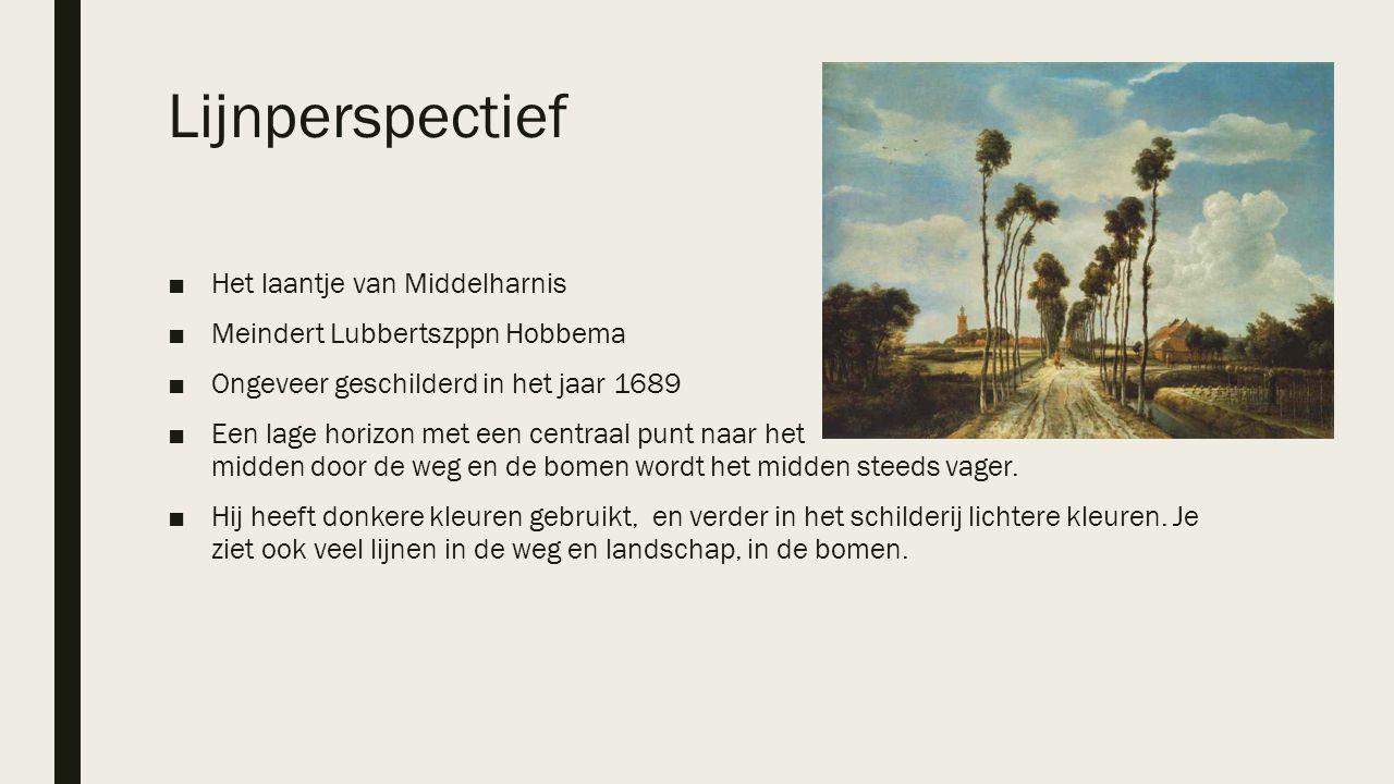 Lijnperspectief ■Het laantje van Middelharnis ■Meindert Lubbertszppn Hobbema ■Ongeveer geschilderd in het jaar 1689 ■Een lage horizon met een centraal
