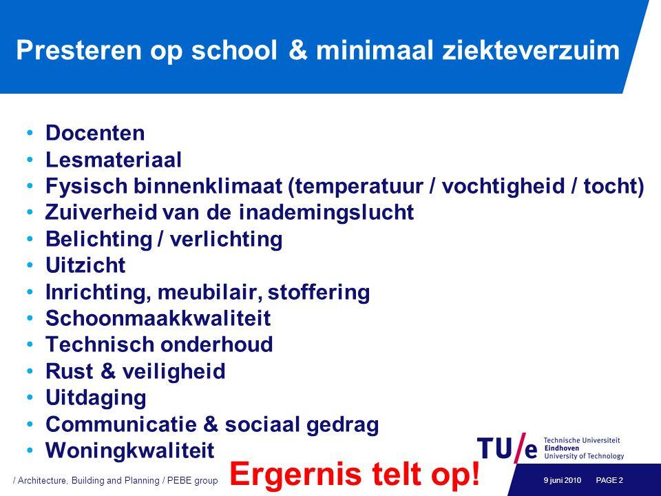 Presteren op school & minimaal ziekteverzuim Docenten Lesmateriaal Fysisch binnenklimaat (temperatuur / vochtigheid / tocht) Zuiverheid van de inademi