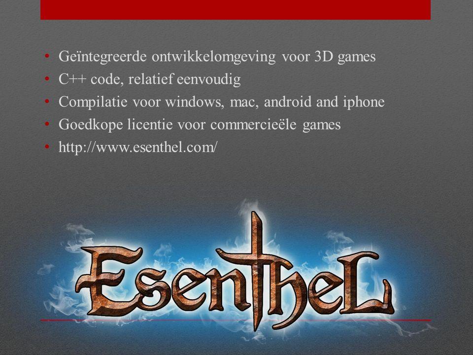 Huiswerk Installeer Esenthel Engine op je computer en maak de oefeningen opnieuw voor de volgende les.