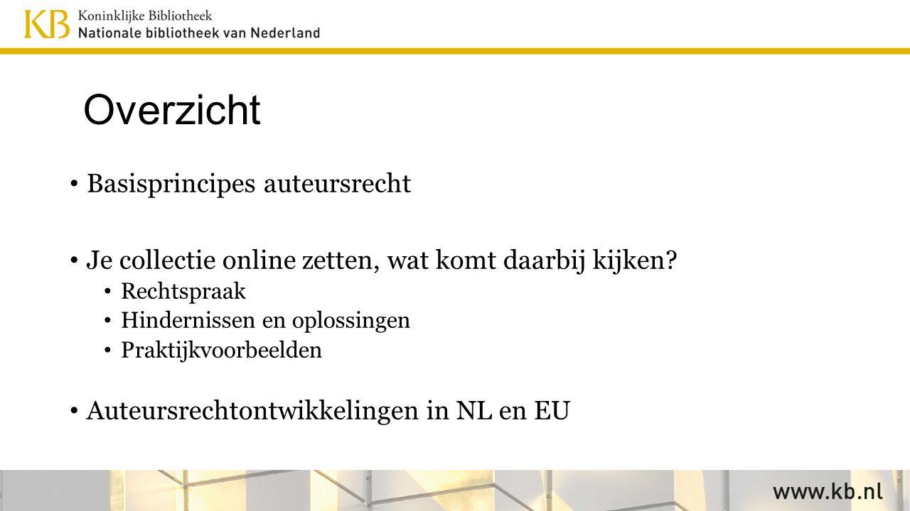 Ontwikkelingen auteursrecht in NL Kabinet besliste in okt 2015 dat ECL inderdaad in de wet moet komen, wetsvoorstel in december 2016.