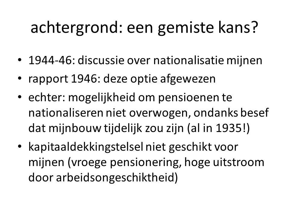 voorgeschiedenis: de AOW (1957) AOW uiting van wens om bestaanszekerheid te garanderen voor 65+; later: welvaartsvast als volksverzekering ingebouwd in pensioen (dus aparte premie erbij, loongecompenseerd) ontlastte AMF; werkgeverslasten omhoog maar groot probleem: gepensioneerden en invaliden tussen 55 en 65 kregen geen toeslag, AMF moest bijspringen  stijgende lasten 1959: AWW ook ingebouwd in pensioen