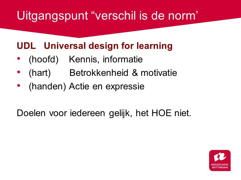 """Uitgangspunt """"verschil is de norm' UDL Universal design for learning (hoofd) Kennis, informatie (hart) Betrokkenheid & motivatie (handen) Actie en exp"""