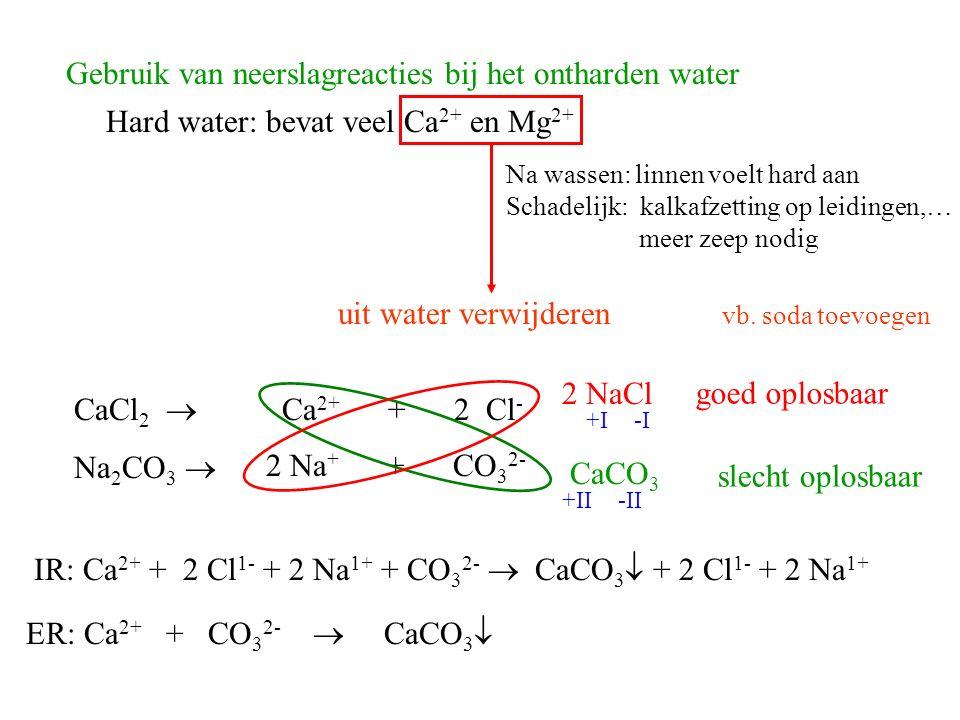 Gebruik van neerslagreacties bij het ontharden water Hard water: bevat veel Ca 2+ en Mg 2+ Na wassen: linnen voelt hard aan Schadelijk: kalkafzetting op leidingen,… meer zeep nodig uit water verwijderen vb.