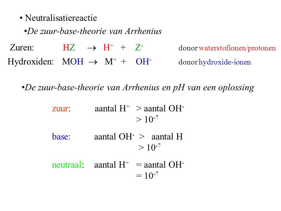 Neutralisatiereactie Zuren: HZ  H + + Z - donor waterstofionen/protonen Hydroxiden: MOH  M + + OH - donor hydroxide-ionen zuur: aantal H + > aantal OH - > 10 -7 base: aantal OH - > aantal H > 10 -7 neutraal: aantal H + = aantal OH - = 10 -7 De zuur-base-theorie van Arrhenius De zuur-base-theorie van Arrhenius en pH van een oplossing