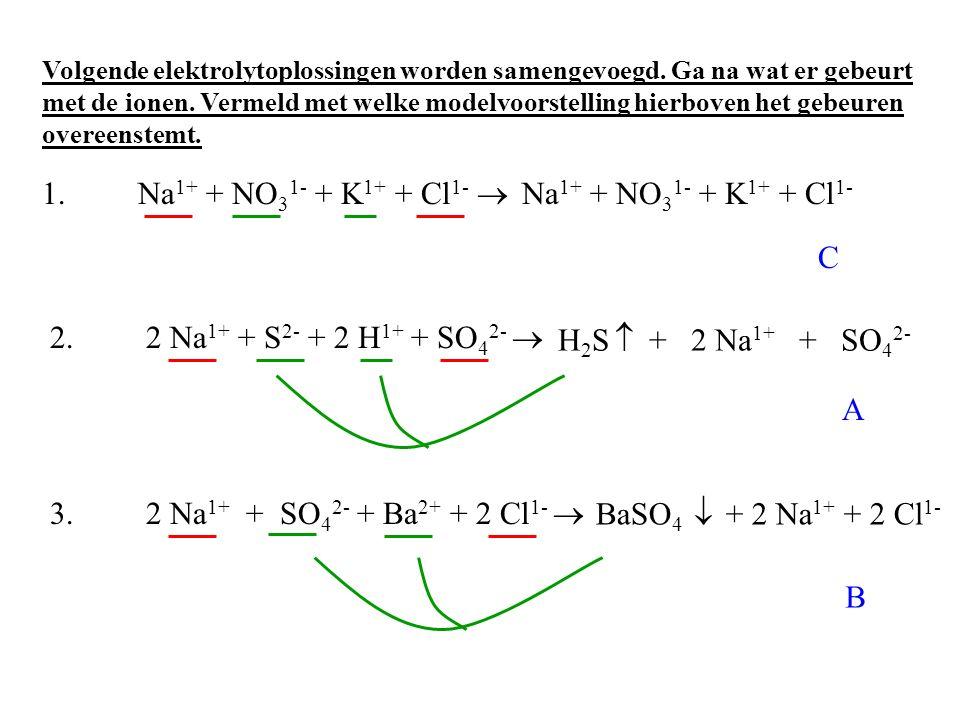 1. Na 1+ + NO 3 1- + K 1+ + Cl 1-  2.2 Na 1+ + S 2- + 2 H 1+ + SO 4 2-  3.2 Na 1+ + SO 4 2- + Ba 2+ + 2 Cl 1-  C + 2 Na 1+ + SO 4 2- A + 2 Na 1+ +
