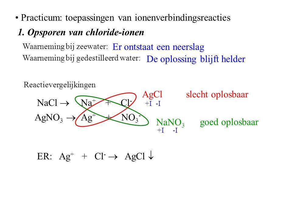 Practicum: toepassingen van ionenverbindingsreacties 1.
