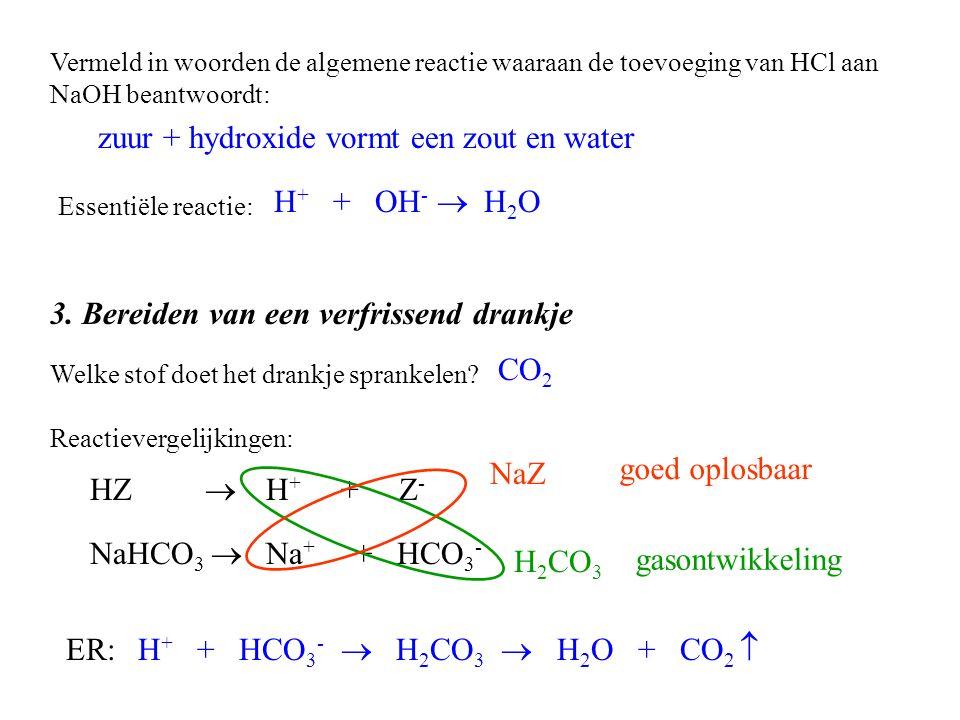 3.Bereiden van een verfrissend drankje Welke stof doet het drankje sprankelen.